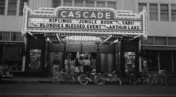 A well-used bike corral directly in front of the Cascade Theater in 1941.